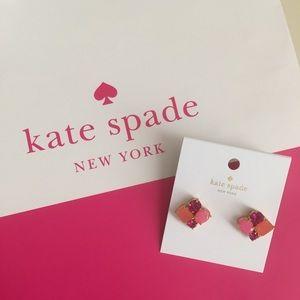 NWT •kate spade• Pink Jewel Cluster Earrings